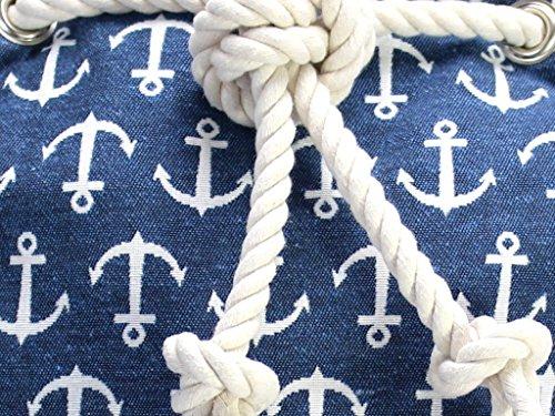 Blauer Seesack mit Ankermuster, Seesack aus canvas mitweißer Baumwollkordel - 2