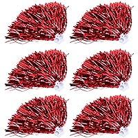 Pompones Deportivos, 6 pzas animan a los poms Principales para Disfraces de Fiesta Disfraces Baile Deportivo(Rojo)