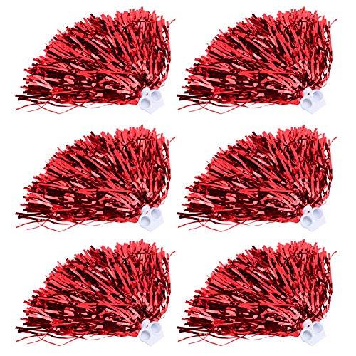 Dilwe 6 stücke Cheerleading Poms, Cheer Führende Sport Poms für Party Kostüm Kostüm Tanz Sport(Rot)