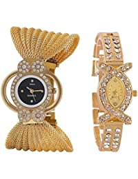 Xforia Golden Combo Watch Girls Zoola and X Diamond Stylish Watches For Ladies & Women (Pack of 2) XF-153