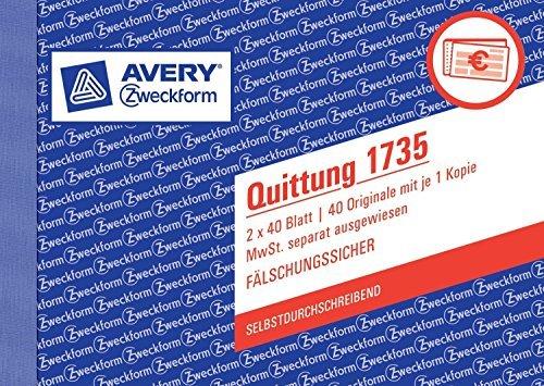 10er Sparpack Avery Zweckform 1735 Quittung MwSt. separat ausgewiesen, DIN A6 quer, fälschungssicher, 2 x 40 Blatt, weiß, gelb (10)