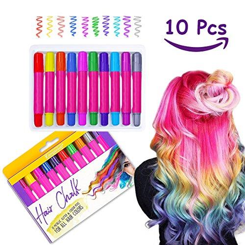 Haarkreide Geschenk für Mädchen, 10 verschiedene Farben, ungiftig, einfach abwaschen ohne Chaos, für alle Haarfarben und Typen für Partys, Theaterstücke, Karneval und Festivals zu verwenden