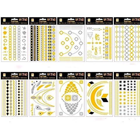 Wallner oro plata METTALIC Flash Tatuaje Adhesivo de Nacklace 8hojas unidades, A6