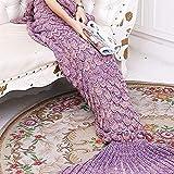 Yowao Mantas de cola de sirena para adultos Patrón hecho a mano de las escalas de pescados que hace puntoy Todas las estaciones calientan sus pies bolsa de dormir 190 x 90 cm morado rosa