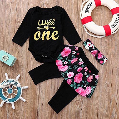 OVINEE 3 STÜCKE Neugeborenen Kleinkind Babyspielanzug Infant Girls Print Overall Kleidung Outfit Anzug Baby Hose Stirnband Blumendruck