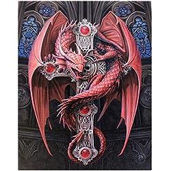 Guardiángótico(Gothic Guardian) -grande(50x70 cm)-undragónrojosobreuncuadrodelienzoJewelledcrucifijoenmarcodeplacade lapared/WallArt-artistaAnneStokes