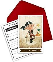 6 cartes d'invitation anniversaire et enveloppes thème pirate - Jack le pirate (en français)