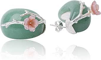 JIANGYUYAN - Orecchini in argento Sterling 925 a forma di fiore di prugna, con cristallo rosa naturale, fatti a mano, gioiello unico per donne e ragazze(Green-Silver)