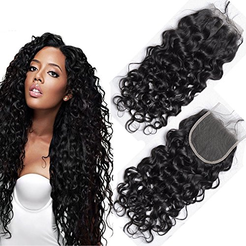 Lace Closure Virgin Brasilianische Haar Front Free Part 4x4 Water Wave Human Hair Extensions Natural Echte 18inch (Extensions Hair Kleber Für)