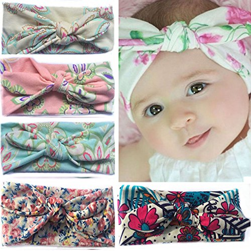 TOAOB 5pcs Baby Girls Turban Rabbit Ears Headband Kids Hair Bows Cross Knot Hair Clips for Photography Props Costume Party