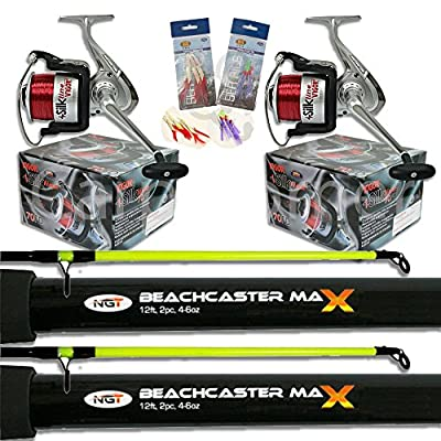 2 x 2pc12ft 4-6oz Beachcaster Rods Sea Fishing Reels Loaded Line Combo Setup from Carp Corner