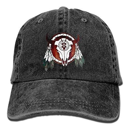 Zhgrong Caps Native American Buffalo Skull Arrowhead Indian Vintage Washed Dyed Cotton Twill Low Profile Adjustable Baseball Cap Black Cap Black Brushed Twill Cap