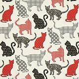 Fabulous Fabrics Cretonne Katzen Chipie - Creme/rot -