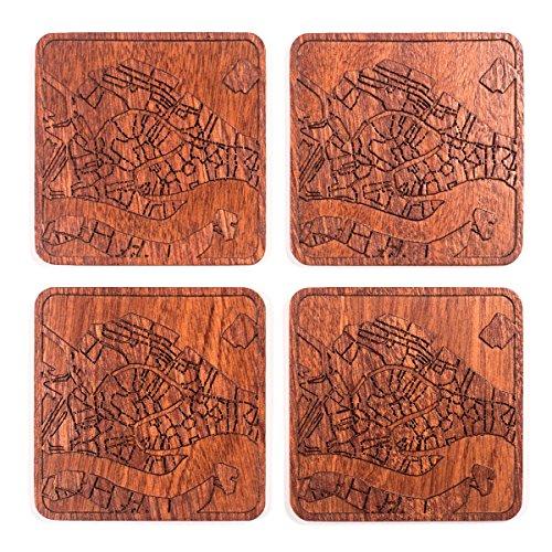 Venice Karte Untersetzer by O3Design Studio, Set 4, Sapeli Holz Untersetzer mit City Map, mehrere City optional, handgefertigt