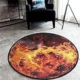 GWELL Galaxis Fußmatten Runde Teppich Kinderzimmer Weich Plüsch Anti-Rutsch Kinderteppich für Schlafzimmer Wohnzimmer orange 80 x 80 cm