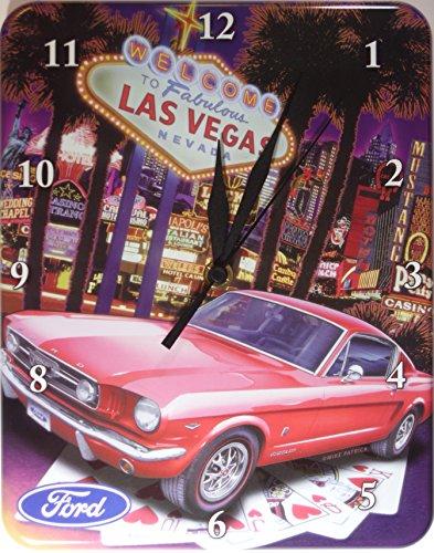 Ford Mustang Las Vegas Blech Uhr Flach Neu 20x26cm U565