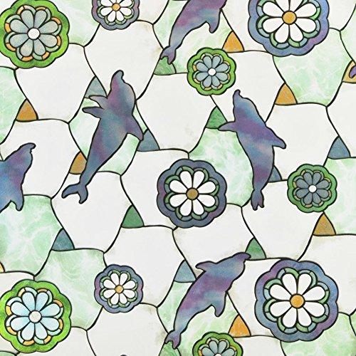 HXSS Bunt Delphin Muster Isoliert Statische Aufladung Fensterfolie (Kein Klebstoff) für Badezimmer & Kinderzimmer 45cm von (Sticks Haar Markieren Sie)