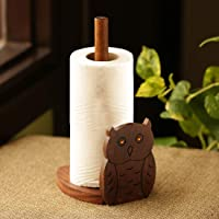 ExclusiveLane 'Owl 'n' Roll' Wooden Decorative Hand Carved Tissue Paper Napkin Stand Standing Kitchen Tissue Rolls…