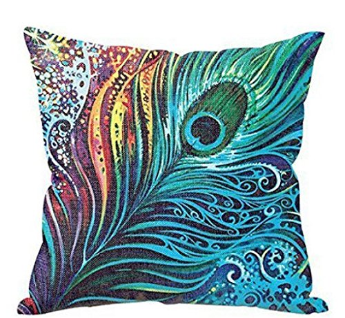Pfau Feder Kissenbezug 43 x 43 cm, LuckyGirls Sofa Bett Home Decor Pillowcase -