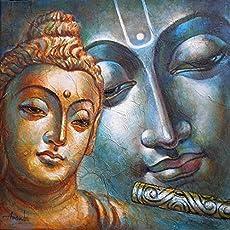 Buddha & Krishna (Acrylic Painting by Ananda Das)