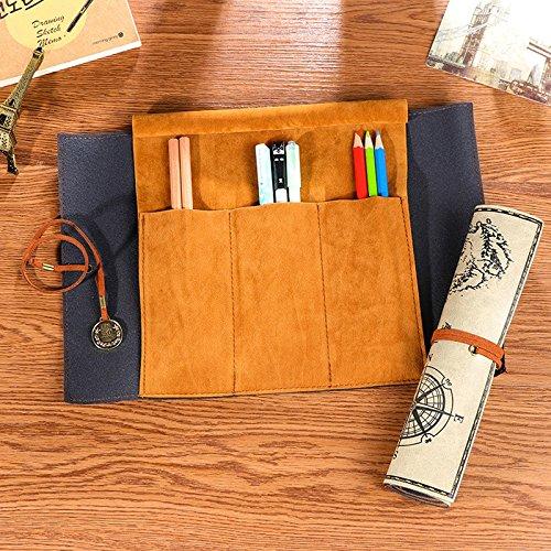 Rolltasche für Stifte Füller Pinsel und mehr in grau