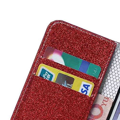 iPhone 7 Plus Hülle,iPhone 7 Plus Handyhülle iPhone 7 Plus Wallet Case Cover Tasche [Flash Pulver] Brieftasche Flip Hülle im Bookstyle Cover Schale Etui Karten Slot Schutzhülle Für iPhone 7 Plus Leder Rot