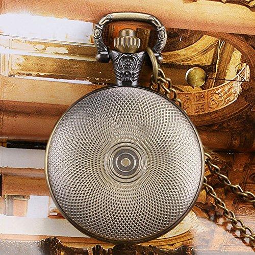 Batman Fluo Blue Logo Antik Bronze Effekt Retro/Vintage Case Herren Quarz-Taschenuhr Halskette–auf 81,3cm Zoll/80cm Kette - 5