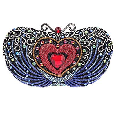 Bonjanvye Crystal Rhinestone Heart Clutch Purses for Women Evening Bag