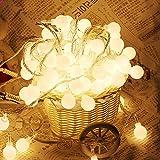 2 Stück 40er LED Kugel Lichterkette Wasserdicht Partylichterkette Partybeleuchtung 5M Mehrfarbig Batteriebetrieben Weihnacht sbeleuchtung Glühbirne für Hochzeit, Party, Weihnachtsbaum Innen Außen