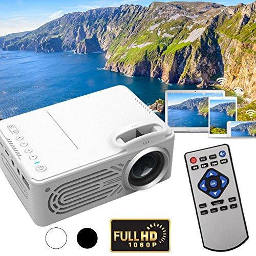 Hanbaili G814 Mini LED Videoprojektor, 6000 Lumen Multimedia Heimkino Videoprojektor Unterstützung 1080 P USB SD Karte AV Heimkino TV Laptop Spiel iPhone Android Smartphone mit (6000 Lumen-led-projektor)