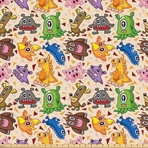 ABAKUHAUS Ausländer Stoff als Meterware, Dragon Phoenix Doodles, Microfaser Stoff für Kunsthandwerke und Dekoration, 5M (160x500cm), Mehrfarbig