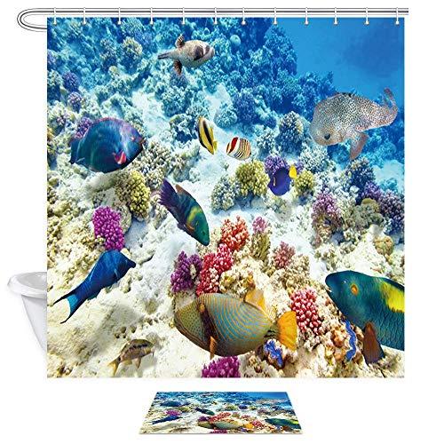 Aliyz Meerestiere Duschvorhang Badeteppiche Unterwasserwelt aus Seefisch und farbigen Korallen in klarem Wasser 71X71 Zoll Stoff-Badvorhangset 15,7x23,6 Zoll Flanell rutschfeste Fußmatten
