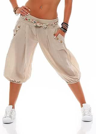 Malito Donna Breve Pump Pantaloni con Cintura Aladin Pantaloni Baggy Yoga 3416