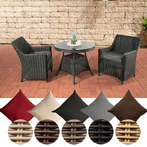 CLP Polyrattan Sitzgruppe AMBATO inkl. Polsterauflagen | Garten-Set: ein Beistelltisch mit pflegeleichter Glasplatte und zwei Sessel | In verschiedenen Farben erhältlich Rattan Farbe schwarz, Bezugfarbe: Terrabraun