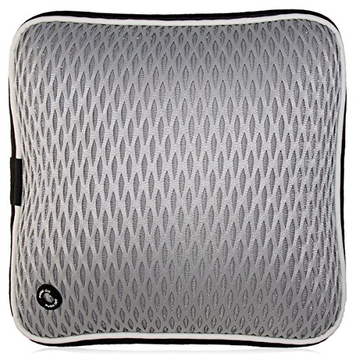 ÁpexTech USB Eléctrico Vibrando Cintura Masajeador lumbar Amortiguar Almohadilla para hogar, oficina y coche Gris-Cuadrícula