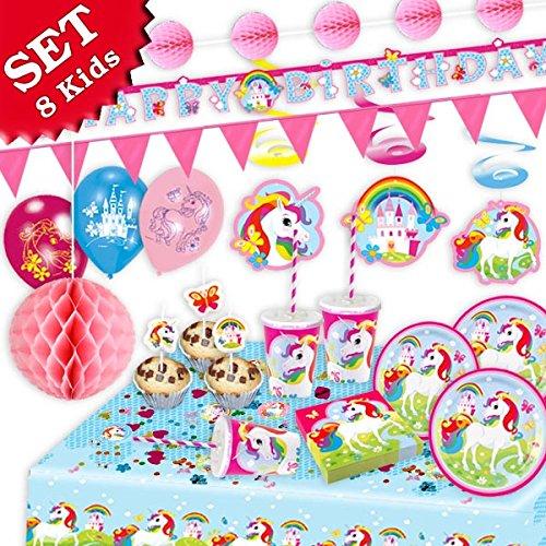 EINHORN Regenbogen Geburtstag-Deko-Set, 85-teilig zum Kindergeburtstag Mädchen und EINHORN Motto-Party für 8 Kids