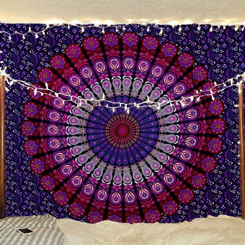 indian-hippie-unique bohemian-psychedelic-mandala wall-hanging-tapestry-pink-purple twin-size