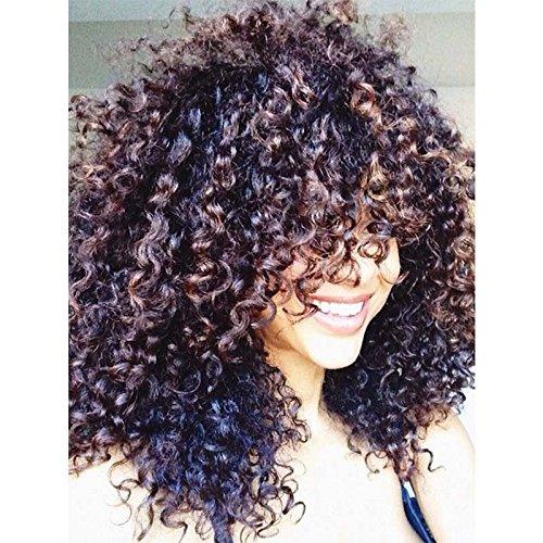 lockiges Haar Perücken für schwarz Frauen, gelockt Perücke, lockiges Afro Lace Front Perücken Echthaar Synthetic Perücken mit Ordentlich Pony 50,8 cm 300 g (braun) (1026)