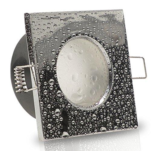 1er Set 230V LED Decken Einbaustrahler AQUA BASE (eckig) IP65 Chrom glänzend; Modul 5W = 50W; Neutral-Weiß (4000k); nur 50 mm Einbautiefe; Bad Feuchtraum Einbauleuchte; quadratisch