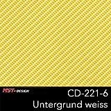 MST-Design Wassertransferdruck Folie I Starter Set Klein I WTD Folie + Dippdivator/Aktivator + Zubehör I 4 Meter mit 50 cm Breite I Carbon Carbon-Look Gelb I CD 221-6