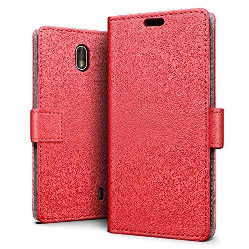 SLEO Nokia 1 Hülle, PU Leder Case Tasche Schutzhülle Flip Case Wallet im Bookstyle für Nokia 1 Cover - Rot