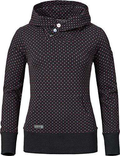 Ragwear Damen Sweatshirt Chelsea (vegan hergestellt) Schwarz gepunktet Gr. M