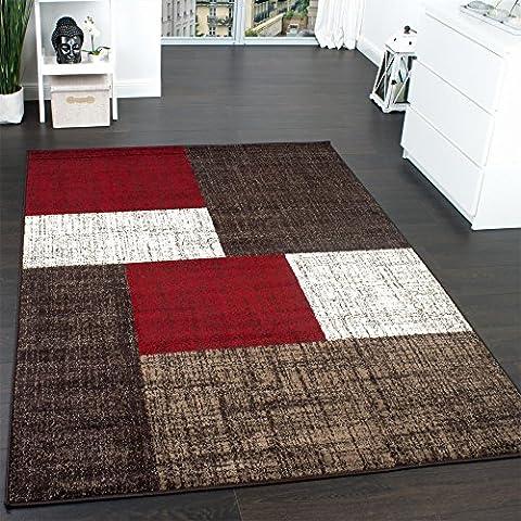 Designer Teppich Modern Kariert Kurzflor Teppich Design Meliert Braun Beige Rot (Teppich Rot)