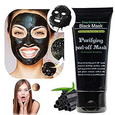 Black Mask, Black Peel Off Mask, Charcoal Black Mask Mud Deep Cleansing Peel Off Acne Mask Activated Tearing Mask for Face Nose (50ml) from Zupro