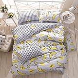 Bettbezug Set, Morbuy 3pcs Banane Muster Bettwäsche Set 220 x 230 cm 100% Polyester Mikrofaser Gemütlich Printing Bettbezug Set(220 x 230 cm (87 * 91 inch))