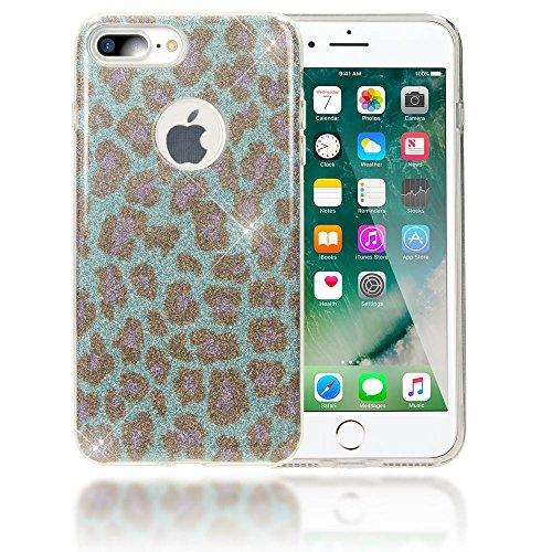 NALIA Purpurina Funda para iPhone 8 Plus / 7 Plus, Carcasa Protectora Movil Silicona Glitter Leopardo Bumper Estuche, Lentejuela Cubierta Delgado Cover Case para Apple iPhone 7+ 8+ - Turquesa Azul