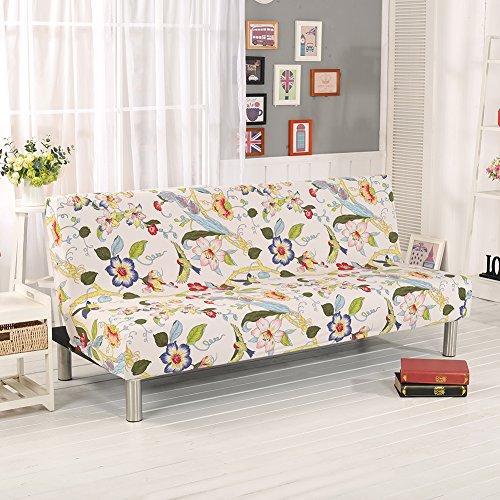 Copridivani con stampe floreali per divani/divani letti senza braccioli, in tessuto elasticizzato di poliestere e