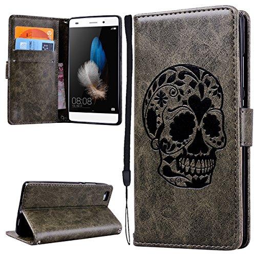 Dexnor Huawei P8 Lite 2015 2016 Leder Handyhülle PU Leather Flip Wallet Case Grau