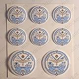 Pegatinas Escudo de Armas Islas Marshall Redondas 8 x Pegatinas Islas Marshall Resina Relieve 3D...