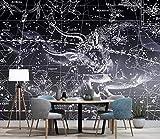 HONGYUANZHANG Schwarzer Kreativer Sternenhimmel Tapete Des Foto-3D Künstlerische Landschafts-Fernsehhintergrund-Tapete,56Inch (H) X 88Inch (W)